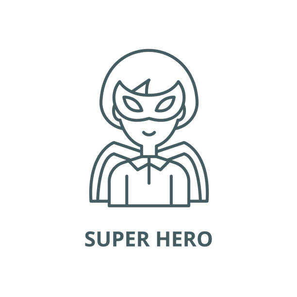 Super hero vector line icon, linear concept, outline sign, symbol Super hero vector line icon, outline concept, linear sign headland stock illustrations