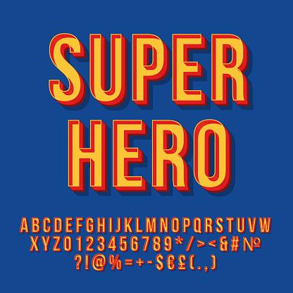 Super hero vintage 3d vector lettering