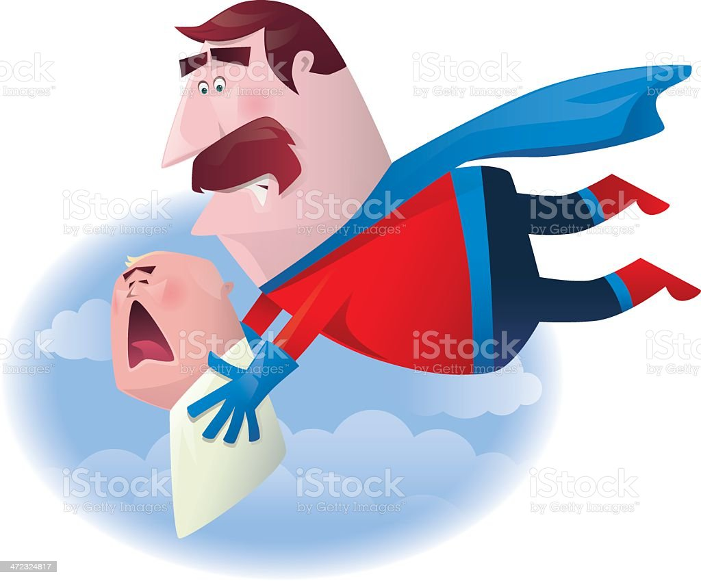 super hero with crying baby vector art illustration