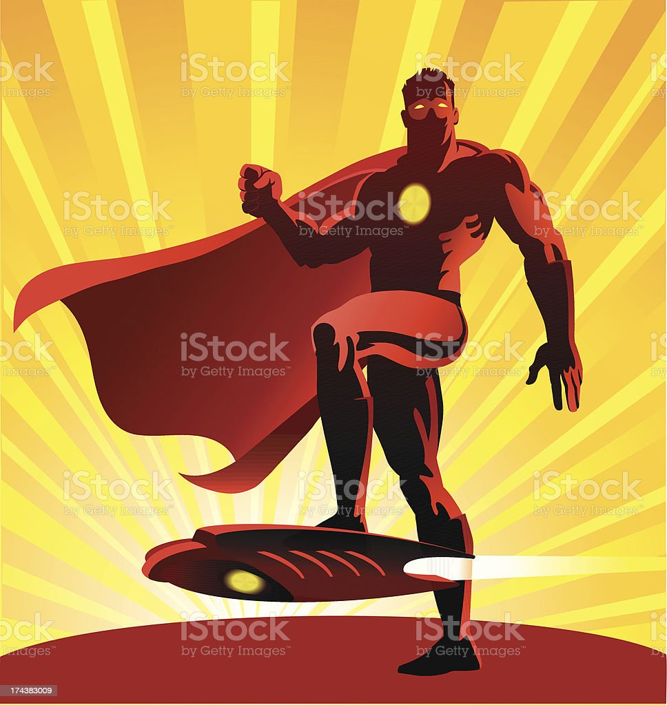 Super Hero With His Air Surfing Board royalty-free stock vector art