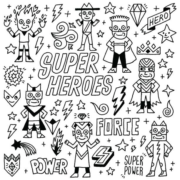 stockillustraties, clipart, cartoons en iconen met super heroes grappige wacky doodle set 1. zwart-wit tekening. vectorillustratie. - tienerjongens