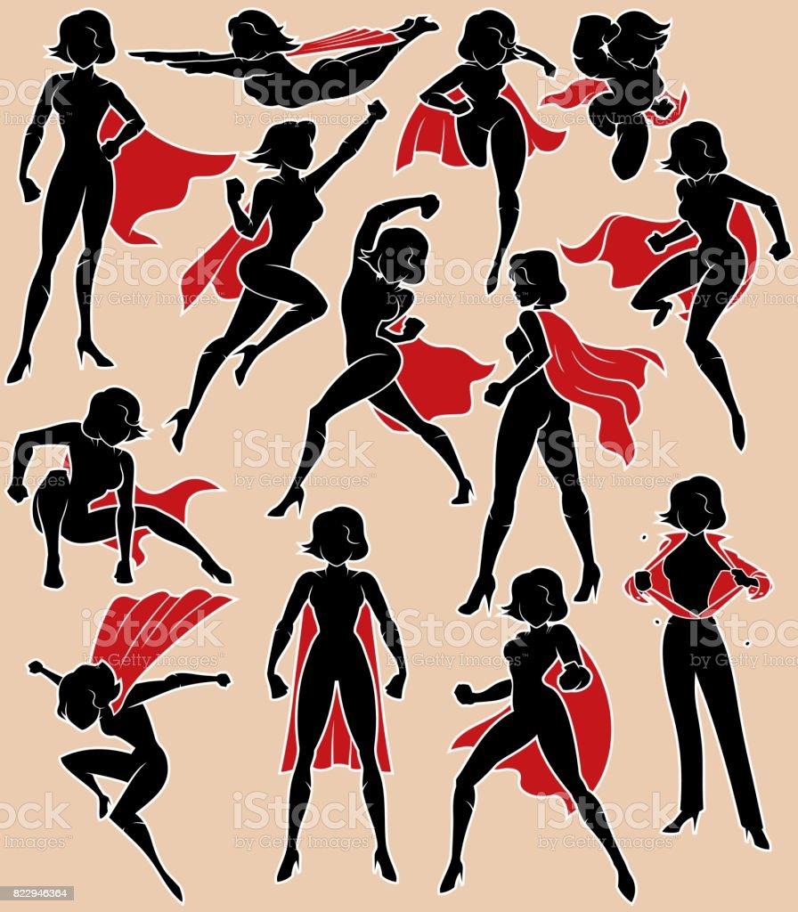 Super Heroine in Action vector art illustration