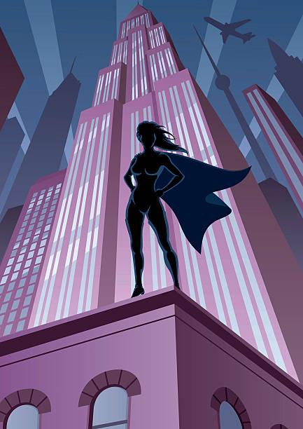 super heldin in der stadt - superwoman stock-grafiken, -clipart, -cartoons und -symbole