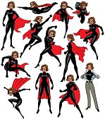 Super heroine over white background in 13 different poses.