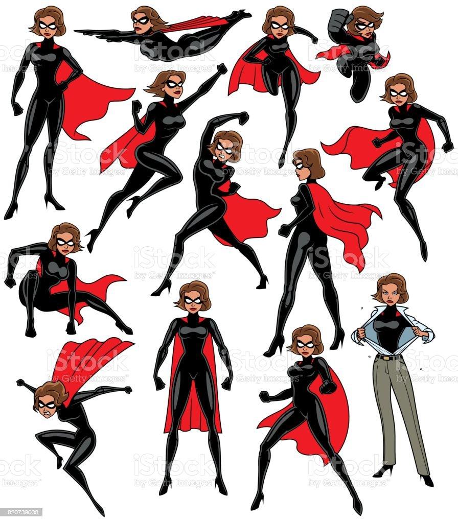 Super Heroine Set vector art illustration