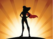 A comic style illustration of a super heroine silhouette with light shading effects.