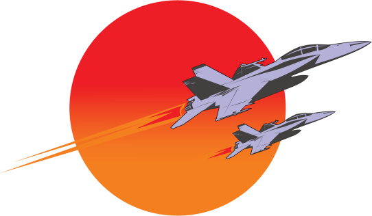 F-18 super hornet flying over the sun