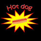 Hot dog inside yellow and red star and ''hot dog'' written above in red and white on a black background. Vector, illustration.