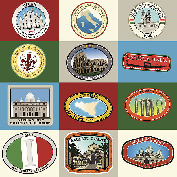 super italienische deluxe-aufkleber set - pompeii stock-grafiken, -clipart, -cartoons und -symbole