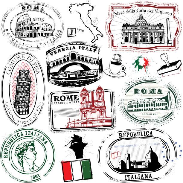 super italienische briefmarken - italien stock-grafiken, -clipart, -cartoons und -symbole