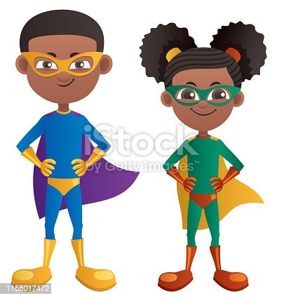 Illustration of cartoon superhero boy and superhero girl.