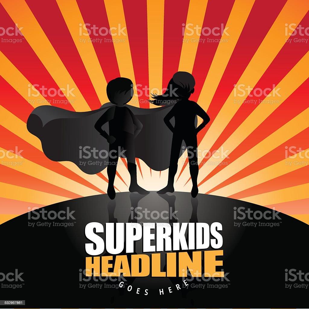 Super kids burst background vector art illustration