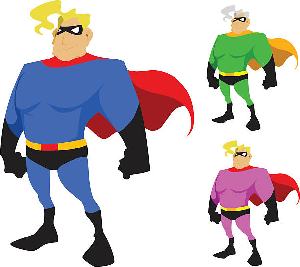 super masked man cartoon character - byteandpixel stock illustrations