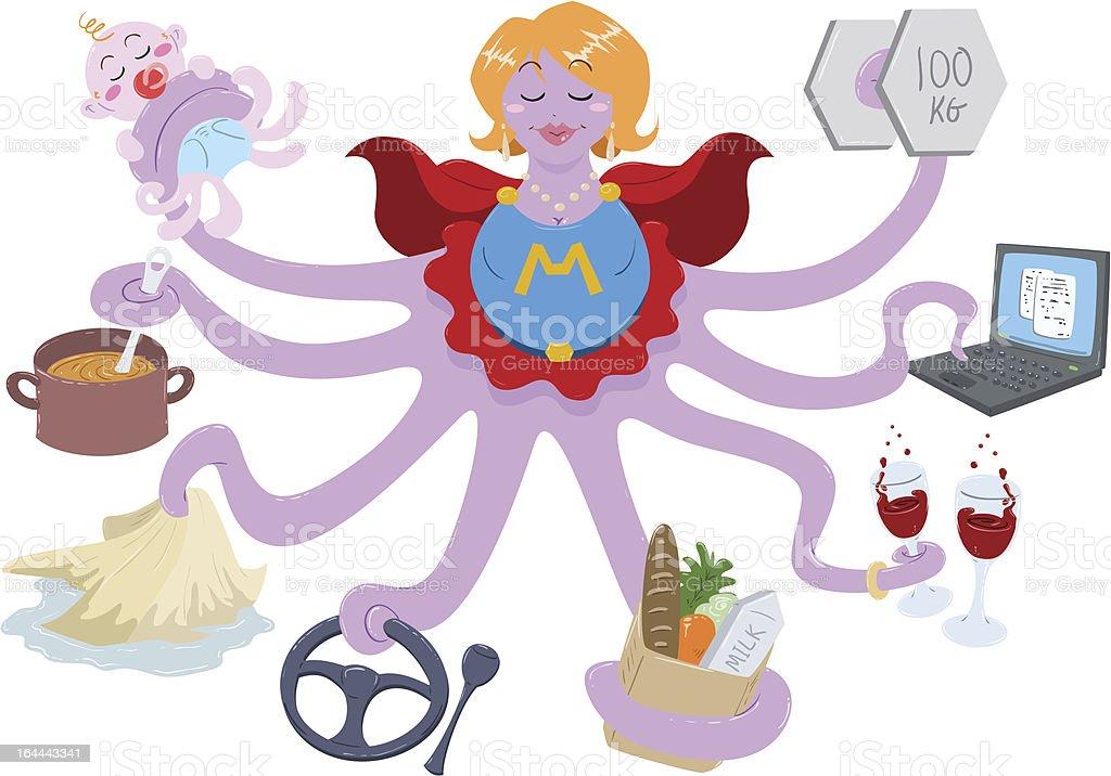 Super mom as an octopus doing many different tasks  vector art illustration