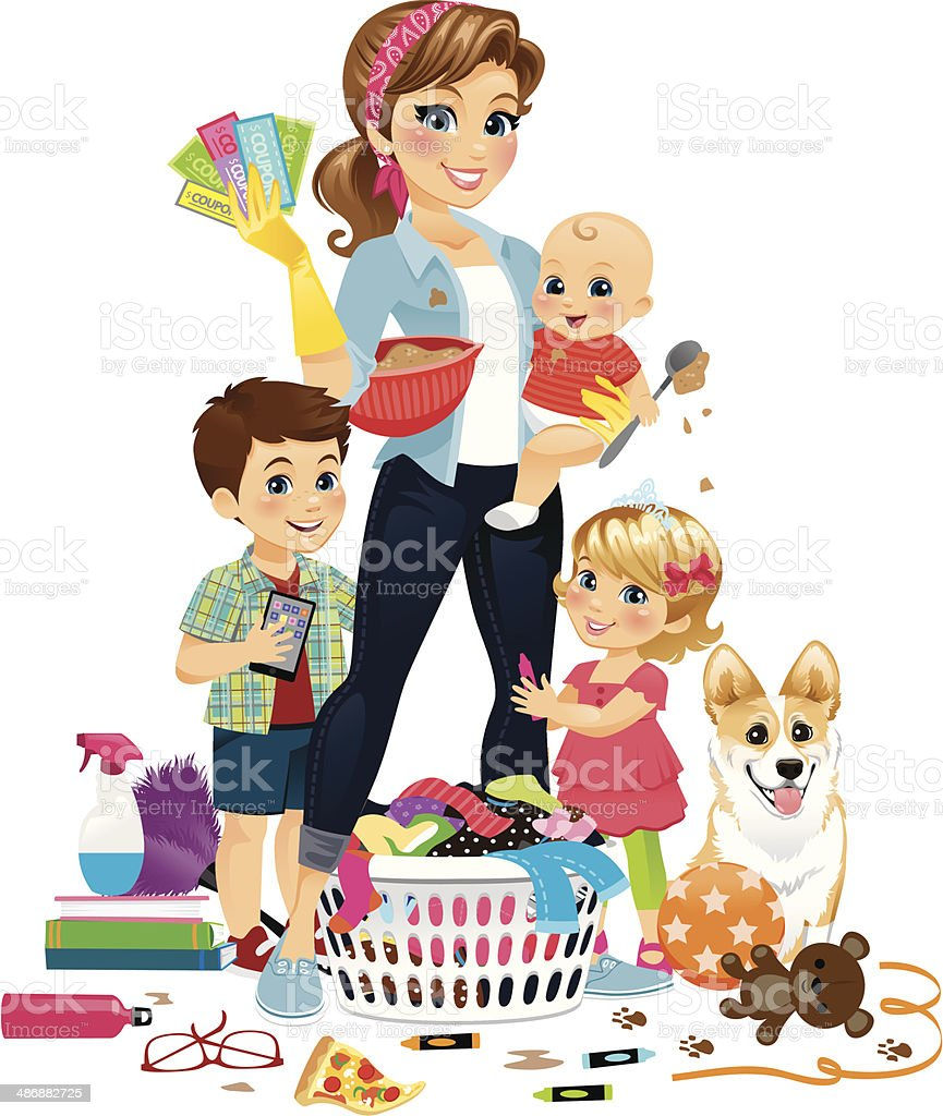 Super Mom Being Domestic This mom does it all! Whether she wants to or not, really…right moms?  Adult stock vector
