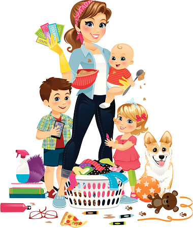 Super Mom Being Domestic Stock Illustration - Download Image Now