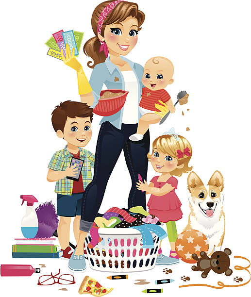 Super Mom Being Domestic vector art illustration