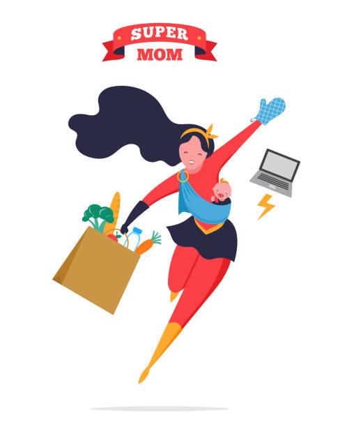 ilustrações de stock, clip art, desenhos animados e ícones de super mom. flying superhero mother carrying a baby. vector illustration - super baby