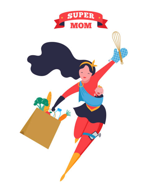 ilustrações de stock, clip art, desenhos animados e ícones de super mom. flying superhero mother carrying a baby. vector illustration - baby super hero