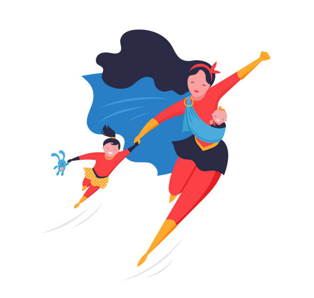 super mom. flying superhero mother carrying a baby. vector illustration - single mother stock illustrations