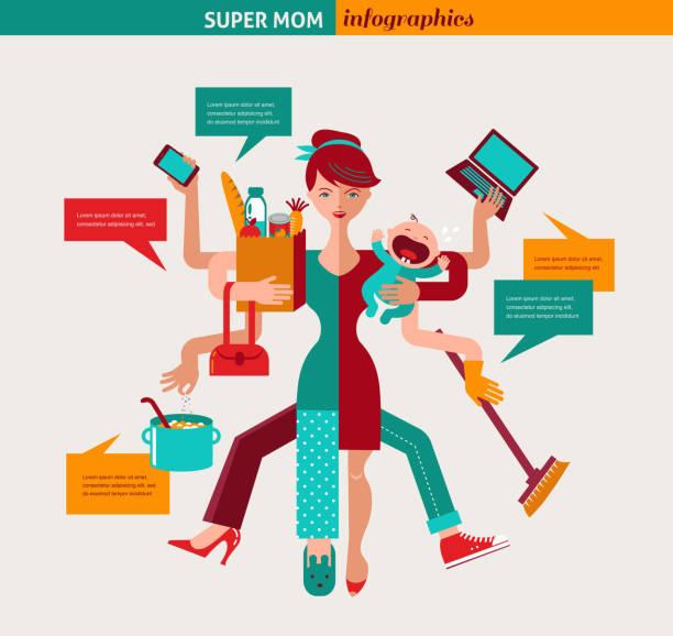 ilustrações de stock, clip art, desenhos animados e ícones de super mãe-ilustração de mãe de várias tarefas em simultâneo - baby super hero
