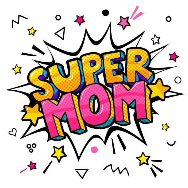 幸せな母の日のお祝いのポップなアート スタイルでスーパーママ。 - 漫画の子供たち点のイラスト素材/クリップアート素材/マンガ素材/アイコン素材
