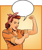 Super Mom - Mother Flexing Muscles With Speech Balloon