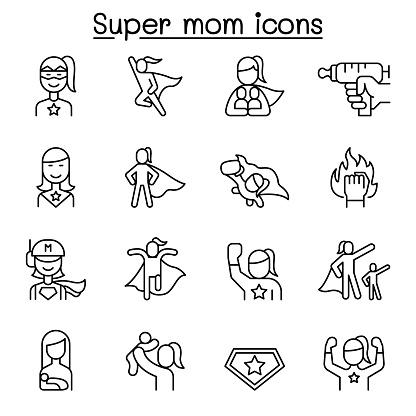 Super mom, super woman, Hero icon set in thin line style