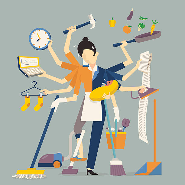 super mom Vector illustration in super mom concept, many hands working with very busy business and housework part, feeding baby, cleaning house, cooking, doing washing, working with laptop. Flat design. overworked stock illustrations