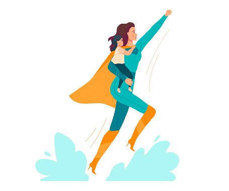 Super mom vector illustration, cartoon flat beautiful young mother in superhero costume holding baby child in hands isolated on white
