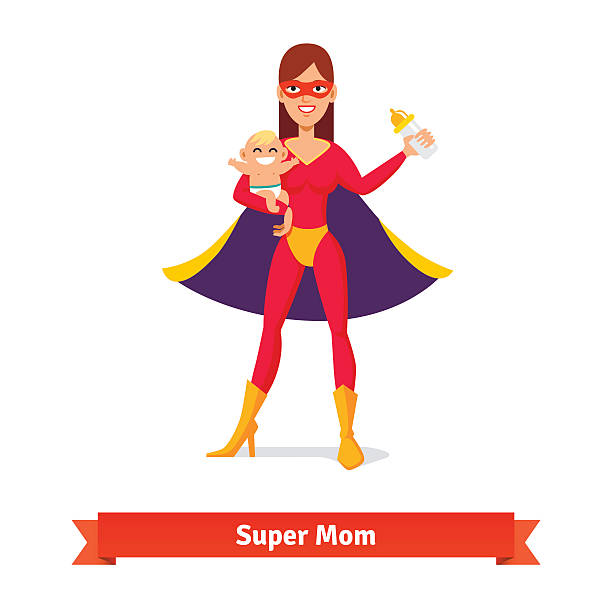 bildbanksillustrationer, clip art samt tecknat material och ikoner med super mother holding son in her arms - superwoman barn