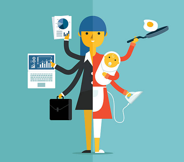 Super Mother businesswoman and mother, career and motherhood divided overworked stock illustrations