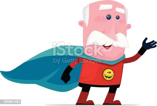 super old man waving