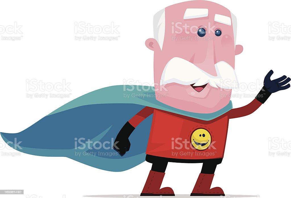 super hombre viejo Saludar con la mano - ilustración de arte vectorial