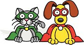 A kitty and puppy superhero duo. Each character is on it's own separate layer in the file.