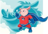 vector illustration of super pig.