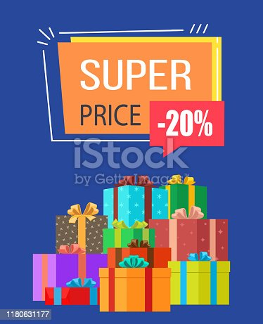 Super price -20% off sale on poster decorated with gifts in wrapping paper with colorful bows. Vector illustration with sale clearance on blue background