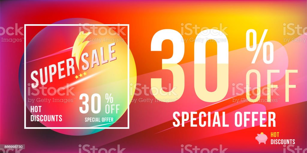 super sale 30 discount bright rectangular poster format and flyer