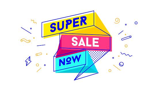 Super Sale. 3d sale banner with text Super Sale