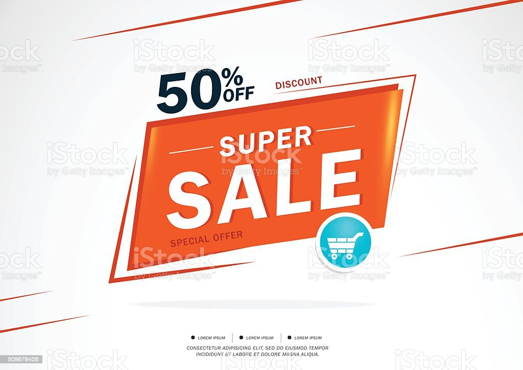 Super Sale and special offer. 50% off vector art illustration