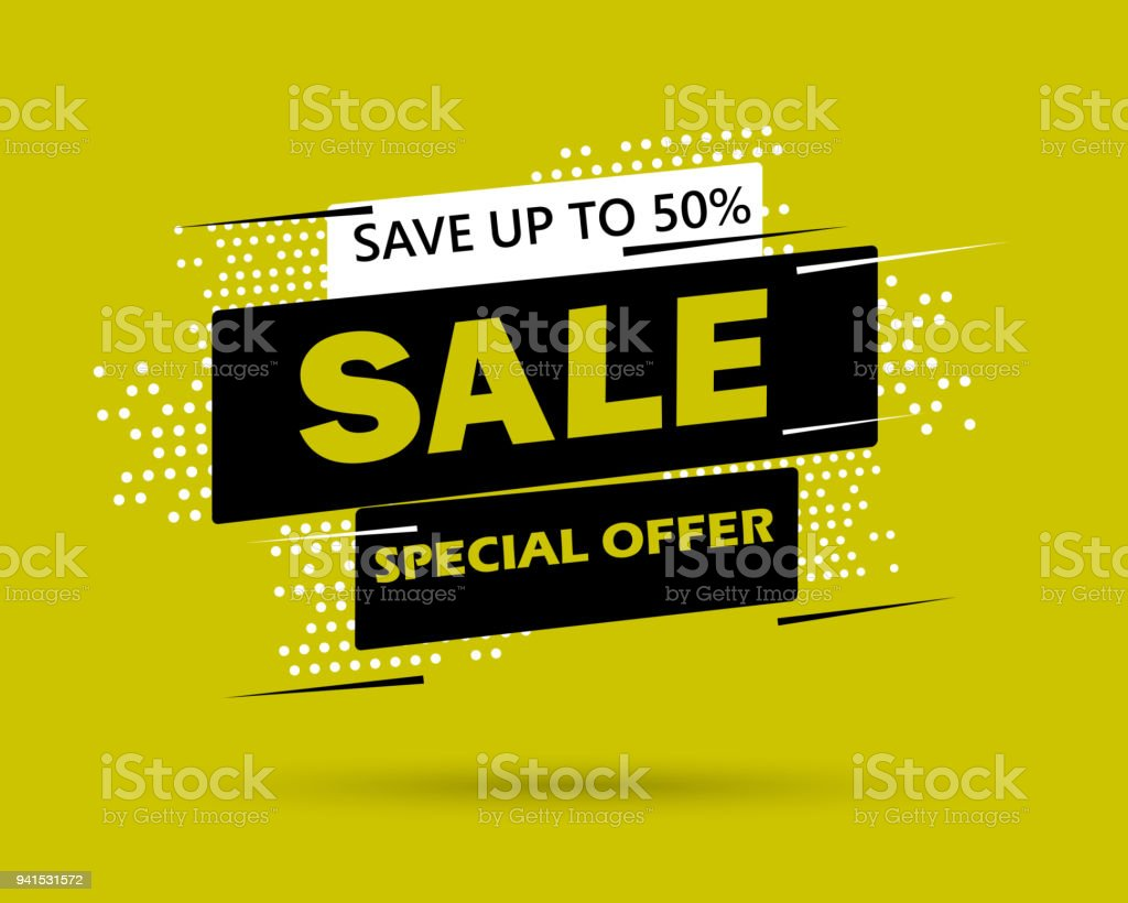 Super Sale and special offer. 50% off. Vector illustration. Trendy neon geometric figures wallpaper in a modern material design style. Coloured banner vector art illustration