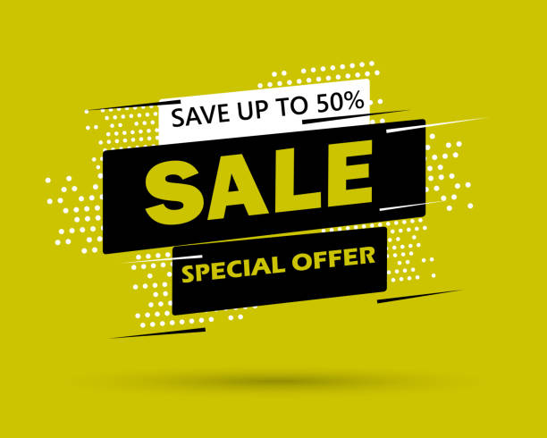 super sale and special offer. 50% off. vector illustration. trendy neon geometric figures wallpaper in a modern material design style. coloured banner - sales stock illustrations