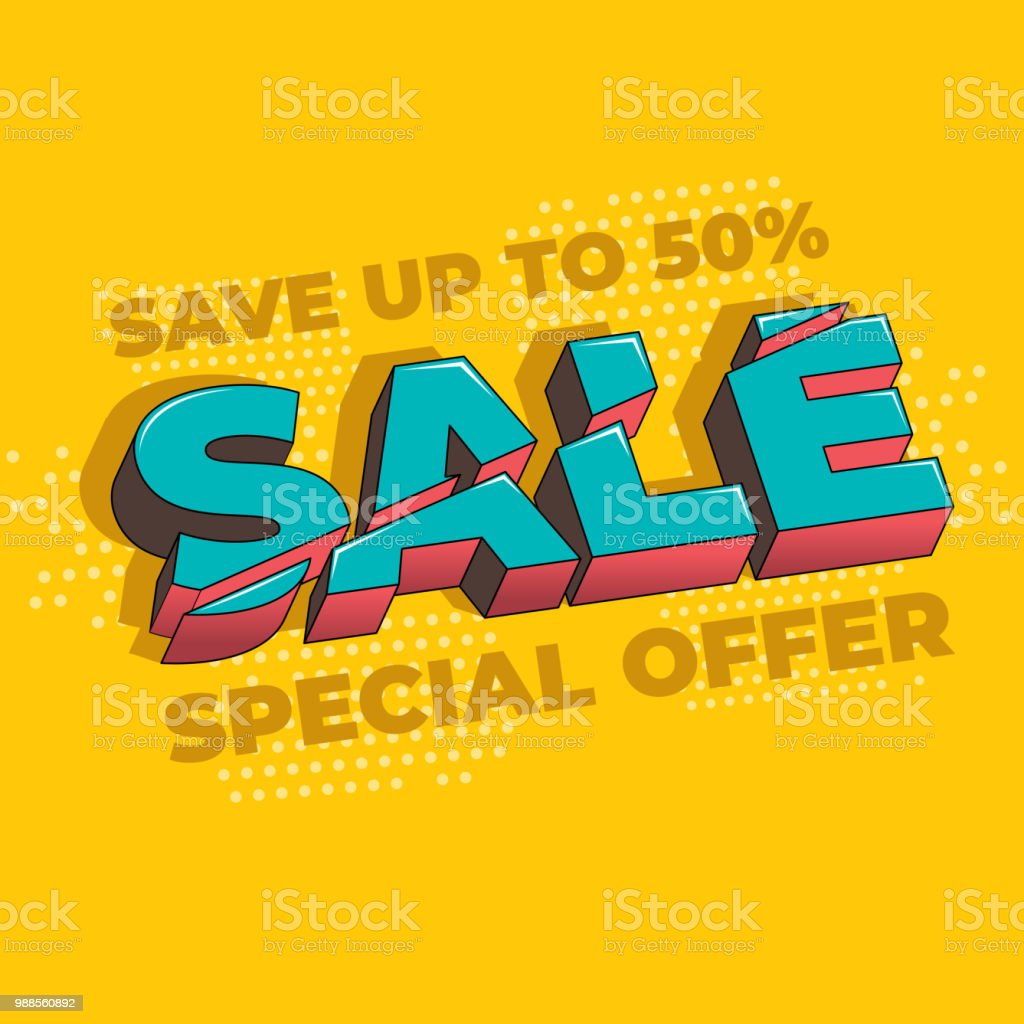 超級銷售和特價優惠50 關閉向量插圖新潮霓虹幾何人物壁紙在現代材料