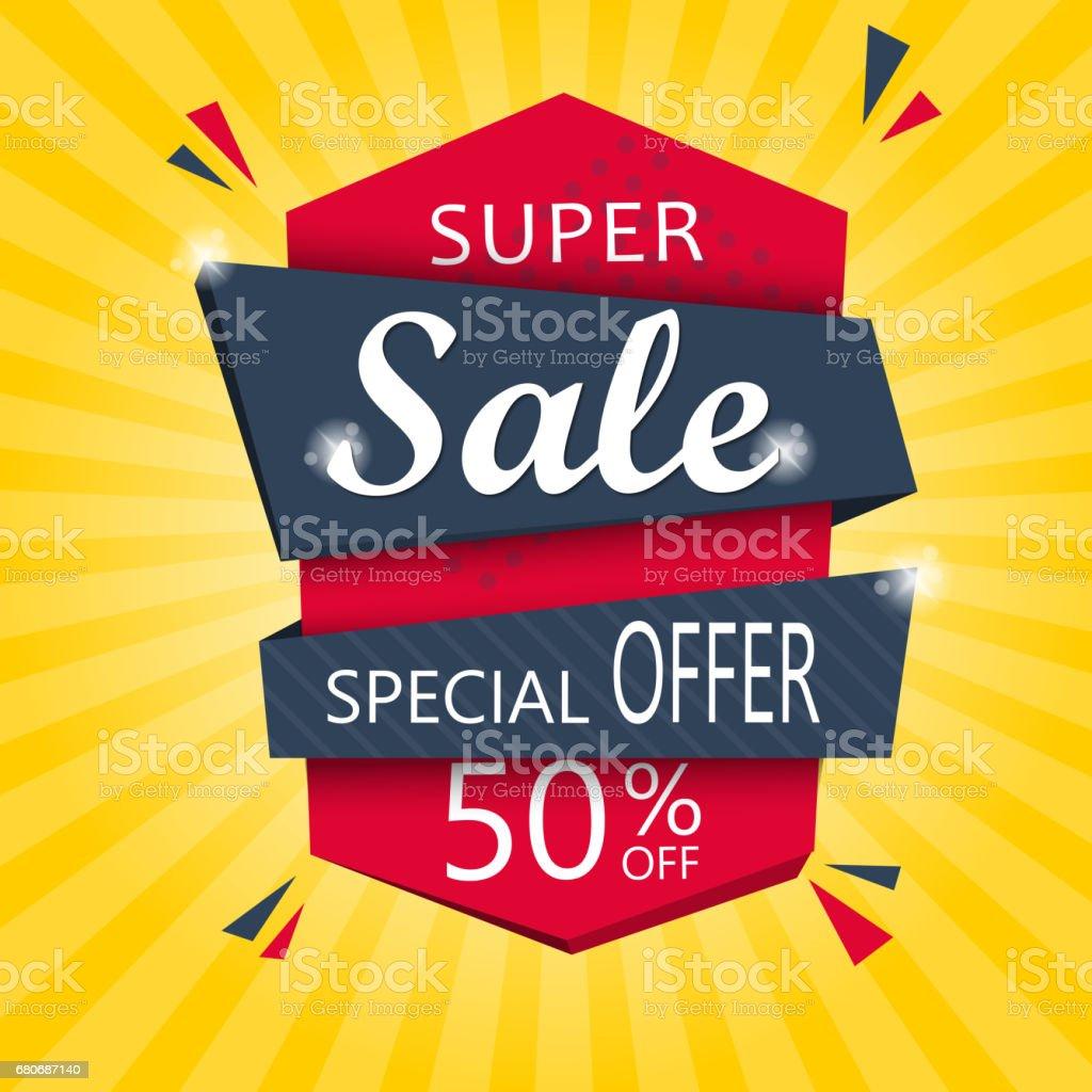 Super Sale and special offer. 50% off. Vector illustration. vector art illustration