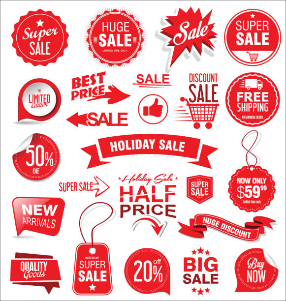 super sale badges and labels vector collection - sales stock illustrations