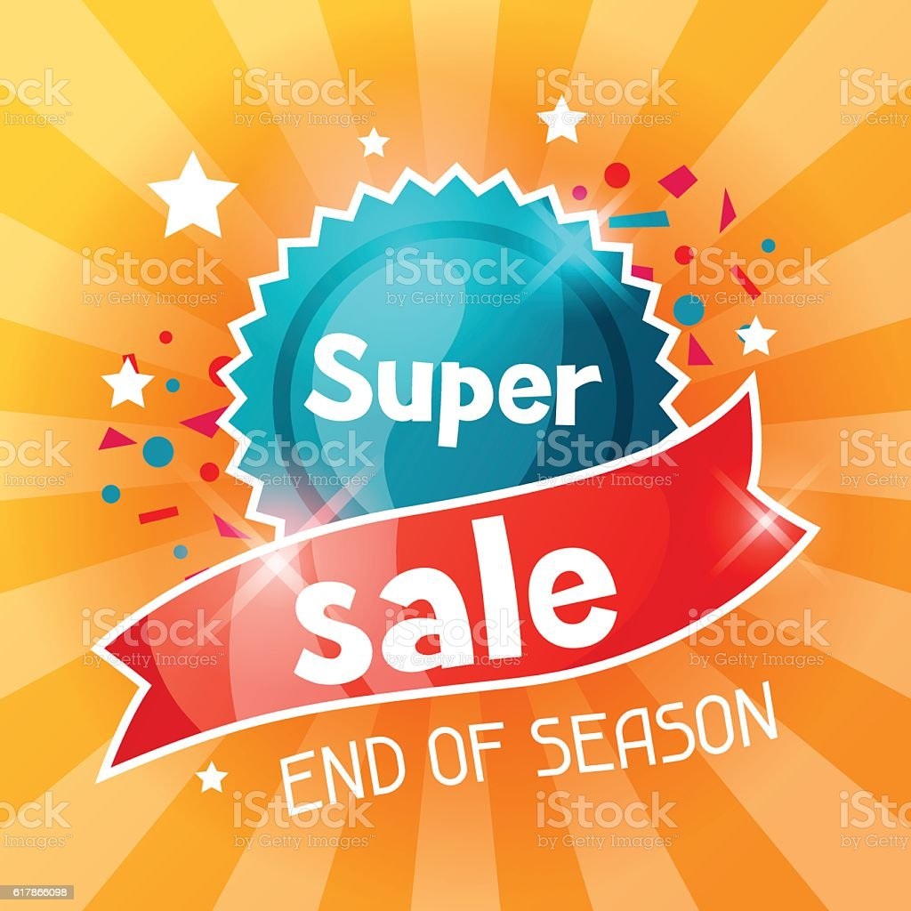 Super sale banner. Advertising flyer for commerce, discount and special vector art illustration