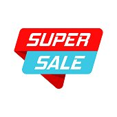Super sale banner badge icon. Vector illustration. Business concept super sale pictogram.