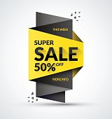 Super sale banner. Special offer and discount concept. Vector illustration