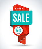 Super sale banner. Special offer tag. Discount concept. Up to 50 percent off design. Vector background