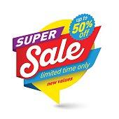 Super sale banner template, special offer, end of season. Vector illustration